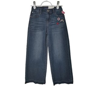 Arizona Jean Wide Leg Embroidered Jeans 8
